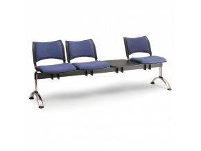 Čalouněné lavice do čekáren SMART, 3-sedák, se stolkem, oranžová, chromované nohy