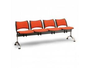 Čalouněné lavice do čekáren SMART, 4-sedák, oranžová, chromované nohy