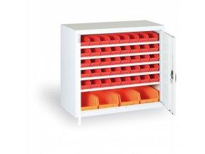 Skříň s plastovými boxy 800 x 920 x 400 mm, 32xA/4xC, šedá/šedé dveře