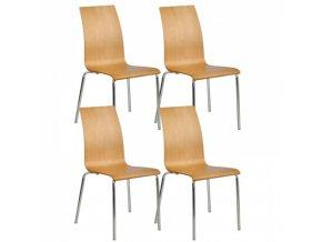 Dřevěná jídelní židle BELLA, přírodní, balení 4 ks