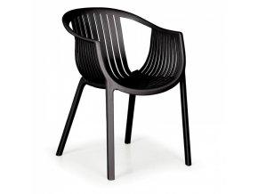 Plastová bistro židle LOUNGE, černá, balení 4 ks