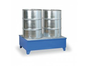 Modrá záchytná vana s roštem na nohách pro 2 sudy, objem 240 L
