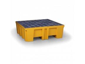 Plastová záchytná vana s PE roštem pro 4 sudy, 488 L