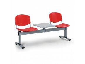 Plastová lavice do čekáren LIVORNO - 2 místa + stolek, červená