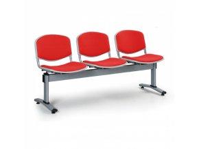 Čalouněné lavice do čekáren LIVORNO, 3-sedák, červená