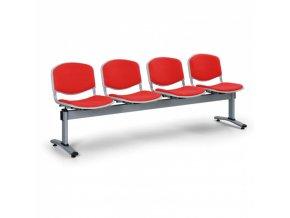 Čalouněné lavice do čekáren LIVORNO, 4-sedák, červená