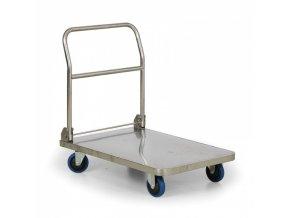 Nerezový skládací plošinový vozík, 400 kg, 900x600 mm