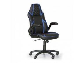 Kožená kancelářská židle GAME, černá/modrá