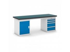 Dílenský stůl GB se skříňkou a zásuvkovým kontejnerem, 2100 mm
