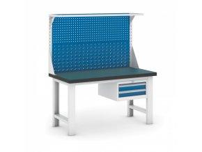 Dílenský stůl GB s nástavbou a zásuvkovým kontejnerem, 1500 mm