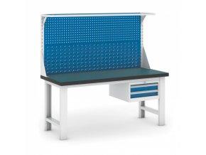 Dílenský stůl GB s nástavbou a zásuvkovým kontejnerem, 1800 mm