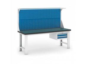 Dílenský stůl GB s nástavbou a zásuvkovým kontejnerem, 2100 mm