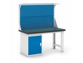 Dílenský stůl GB se skříňkou a nástavbou, 1500 mm