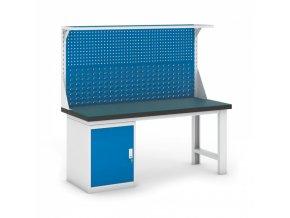Dílenský stůl GB se skříňkou a nástavbou, 1800 mm