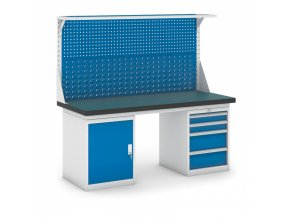 Dílenský stůl GB se skříňkou, zásuvkovým kontejnerem a nástavbou, 1800 mm