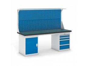 Dílenský stůl GB se skříňkou, zásuvkovým kontejnerem a nástavbou, 2100 mm