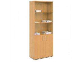 Kombinovaná kancelářská skříň s policemi EXPRESS, 740 x 372 x 1900 mm, bříza
