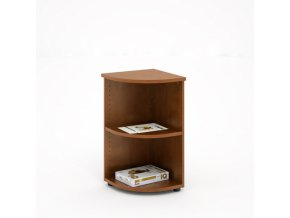 Rohový kancelářský regál EXPRESS, 372 x 372 x 800 mm, tmavý ořech