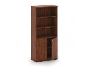 Skříň policová 2-dveřová, ořech, 800 x 400 x 1800 mm