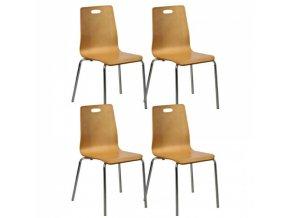 Dřevěná jídelní židle BETTY, přírodní, balení 4 ks