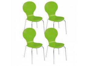 Dřevěná jídelní židle PEAS, zelená 4ks