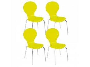Dřevěná jídelní židle LIME GREEN, 4 ks