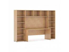 Sestavy knihoven s integrovaným stolem, nižší, 2950 x 700/400 x 1923 mm, buk