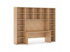 Sestavy knihoven s integrovaným stolem, vyšší, 2950 x 700/400 x 2300 mm, buk