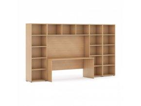 Sestavy knihoven s integrovaným stolem, nižší/širší, 3350 x 700/400 x 1923 mm, buk