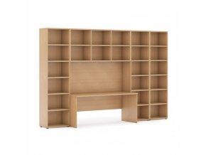 Sestavy knihoven s integrovaným stolem, vyšší/širší, 3350 x 700/400 x 2300 mm, buk