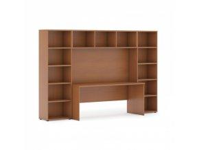 Sestavy knihoven s integrovaným stolem, nižší, 2950 x 700/400 x 1923 mm, třešeň