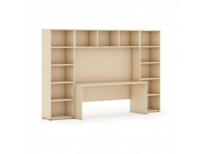 Sestavy knihoven s integrovaným stolem, nižší, 2950 x 700/400 x 1923 mm, bříza