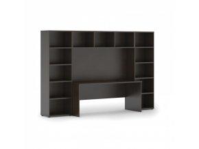 Sestavy knihoven s integrovaným stolem, nižší, 2950 x 700/400 x 1923 mm, wenge