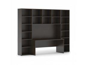 Sestavy knihoven s integrovaným stolem, vyšší, 2950 x 700/400 x 2300 mm, wenge