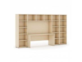 Knihovna INTEGRO nižší/širší, 3350 x 700/400 x 1923 mm, bříza