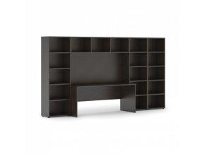 Sestavy knihoven s integrovaným stolem, nižší/širší, 3350 x 700/400 x 1923 mm, wenge