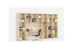 Sestavy knihoven s integrovaným stolem, vyšší/širší, 3550 x 700/400 x 2300 mm, bříza