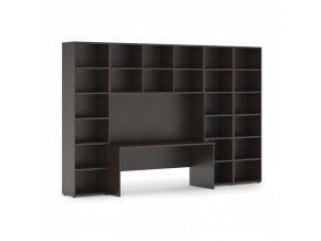 Sestavy knihoven s integrovaným stolem, vyšší/širší, 3350 x 700/400 x 2300 mm, wenge