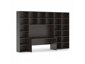 Sestavy knihoven s integrovaným stolem, vyšší/širší, 3550 x 700/400 x 2300 mm, wenge