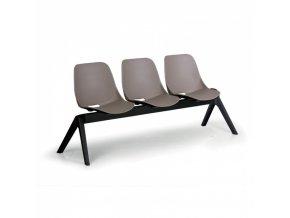 Plastová lavice do čekáren MONOSHELL, 3-sedák, šedá