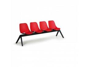 Plastová lavice do čekáren MONOSHELL, 4-sedák, červená