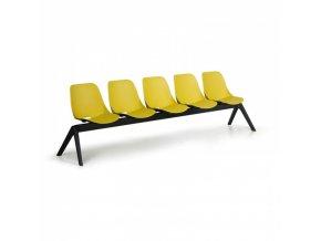 Plastová lavice do čekáren MONOSHELL, 5-sedák, zelená