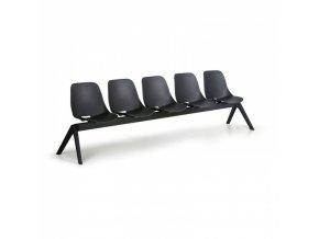 Plastová lavice do čekáren MONOSHELL, 5-sedák, černá