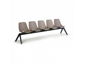 Plastová lavice do čekáren MONOSHELL, 5-sedák, šedá