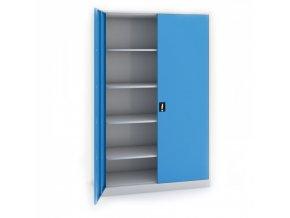 Svařovaná skříň JUMBO, 1950 x 1200 x 800 mm, šedá/modrá