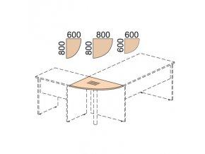 Propojovací prvek EXPRESS, 800 x 800 x 22 mm, bříza