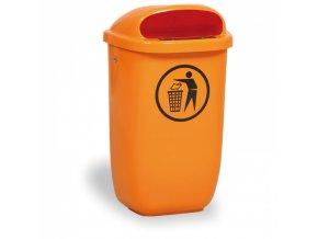 Venkovní odpadkový koš na sloupek DINO, oranžový