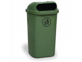 Venkovní odpadkový koš na sloupek DINO, tmavě zelený