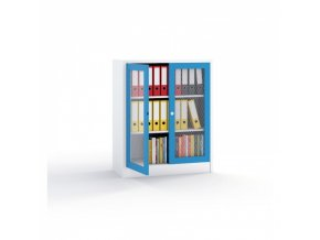 Kovová skříň - dveře tahokov, 1150 x 950 x 500 mm, šedá/modrá