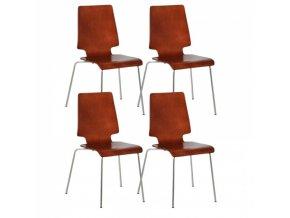 Dřevěná židle TORONTO, ořech - nosnost 120 kg, 4 ks